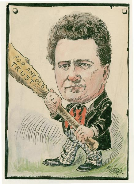 "Political cartoon of Robert M. La Follette, Sr.  A verse is written below the cartoon and refers to the period when he first became a senator.  The verse is entitled ""From the Railroads to La Follette"" and reads--From the Badger wilds comes an ""ornry cuss""  With a lot of noise and a lot of fuss  To make in the senate an awful muss  And mix up a horrible dose for us.  He will not be fixed and he spurns our bait  Nor would he be governor of his state  He's whetted his knife for the special rate  And swears that he'll slaughter our dear rebate."