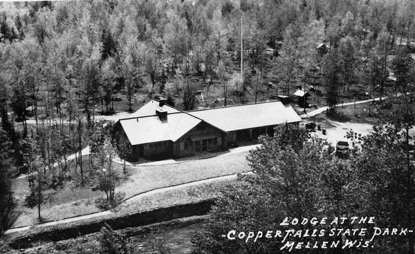 Aerial view of a shelter house at Copper Falls State Park.