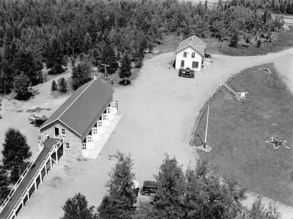 Elevated view of the Mercer Ranger Station from a watchtower.