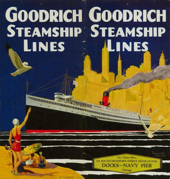 "Cover from Goodrich Steamship Lines schedule, with a picture of a screw-driven passenger/freight vessel against the Chicago skyline and a beach scene in the foreground. The vessel could be the ""City of Grand Rapids""."