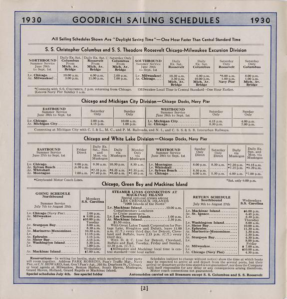 Page 2 of the sailing schedules gives the sailing times and for the Christopher Columbus and Theodore Roosevelt and other Goodrich ships. Connections to several railroads are listed.