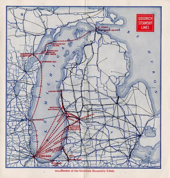 Page 8 of the 1930 schedule is a map of the routes of the Goodrich Steamship Lines in Lake Michigan and Lake Huron.