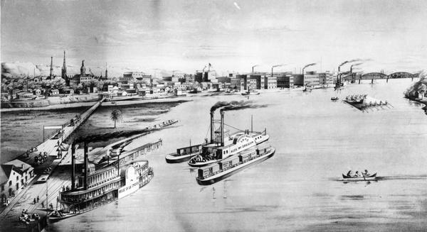"The harbor, showing the sidewheel packet, ""Belle of La Crosse,"" and the sidewheel ferry ""Alex McGregor."" Other boats are also seen including two barges loaded with railroad cars and a canoe."
