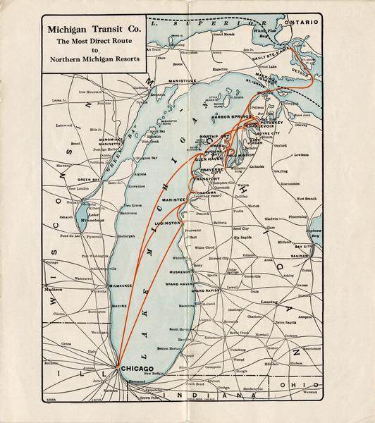 Map of the routes of the screw-driven passenger/freight vessels of the Michigan Transit Company for 1926.