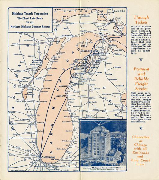 Map of the routes of the screw passenger and freight vessels of the Michigan Transit Company. Includes a picture of the Park Place hotel in Traverse City, Michigan.