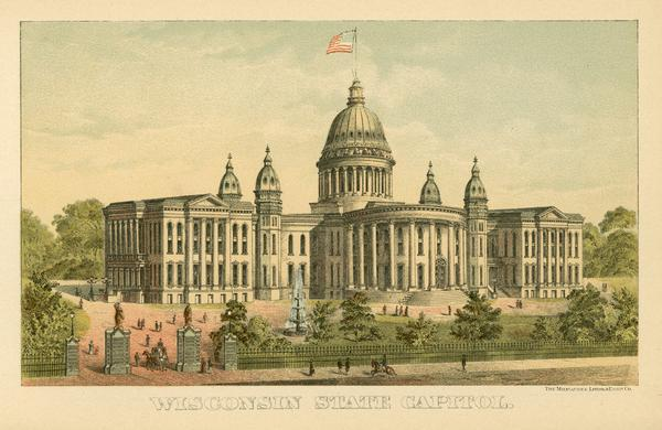 Chromolithograph of the third Wisconsin State Capitol with a U.S. flag atop the dome. The colored illustration was produced by the Milwaukee Lithography and Engraving Company and used as frontis material in the 1891 Blue Book of the State of Wisconsin. It illustrates the Capitol after the additions to the North and South wings were constructed in 1883.<p>The minarets above the four octagonal towers were eliminated from the design of Architect D.R. Jones.