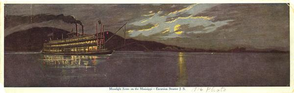 "The sternwheel excursion, ""J.S."" in the moonlight on the Mississippi River taken in 1906."