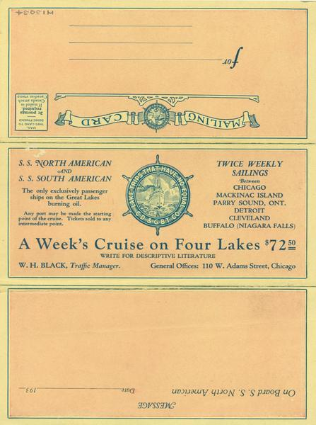 "Front of dinner menu for the ""North American"" for the season. Gives rates for cruises on the ""North American"" or ""South American"" between Chicago, Illinois, Mackinac Island, Michigan, Parry Sound, Ontario, Detroit, Michigan, Cleveland, Ohio, and Buffalo, New York. Menu is designed to be folded and addressed and mailed to a friend."