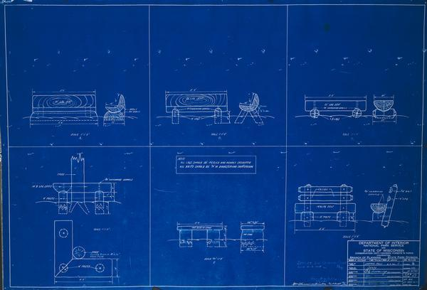 Blueprint design for seats for Copper Falls State Park.