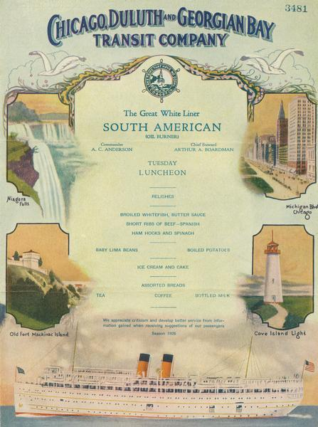 "Inside of Tuesday luncheon menu for the ""South American."" Includes drawings of Niagara Falls, New York, Old Fort Mackinac Island, Michigan, Michigan Boulevard, Chicago, Illinois and Cove Island Light, Ontario, as well as a drawing of the ""South American."""