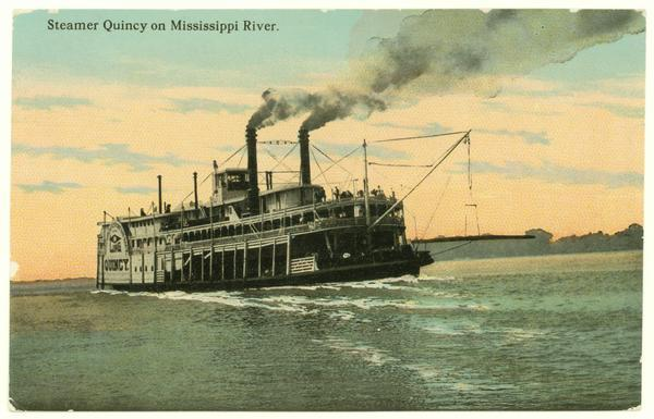 The stern view of the sidewheel packet, <i>Quincy</i>, on the Mississippi River. Later named <i>J.S.</i>