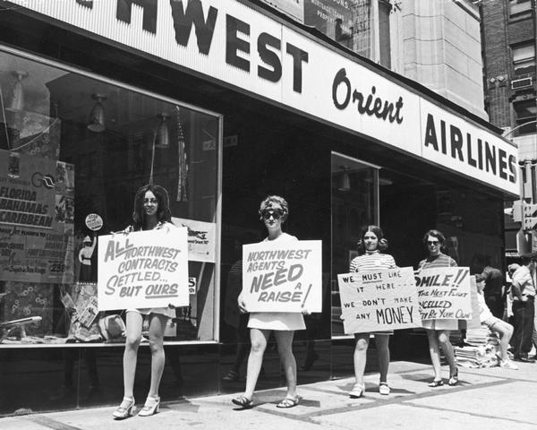 Picket line of striking Northwest Airlines ticket agents and office workers who were represented by the Brotherhood of Railway and Airline Clerks.