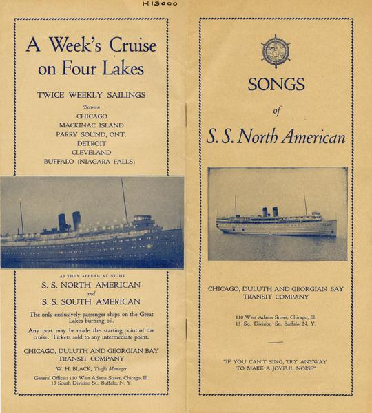 "Cover from songbook used on the ""S.S. <i>North American.</i>"" Back cover advertises the sailings of the ""North American"" and ""South American."" Includes pictures of one of the ships at night and in daylight."