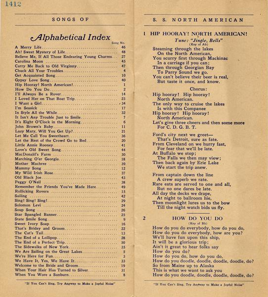 "Pages 1-2 of the Songbook for the ""North American"" includes an index and the lyrics for 2 songs."