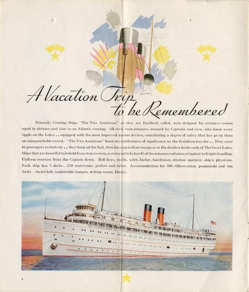 "Describes the comforts and safety of the two Americas, the screw passenger cruise vessels, the ""North American"" and ""South American""."