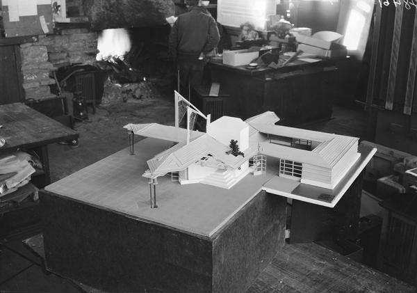 Architectural model of a village-type gasoline station designed by Frank Lloyd Wright on display at Taliesin. Taliesin is located in the vicinity of Spring Green, Wisconsin.