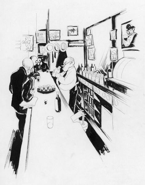Drawing of Frank bartending at The J&L.