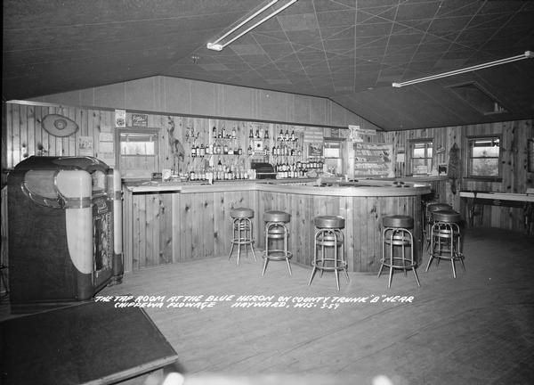 "Interior shot of the tap room at the Blue Heron on County Truck ""B"" near Chippewa flowage."