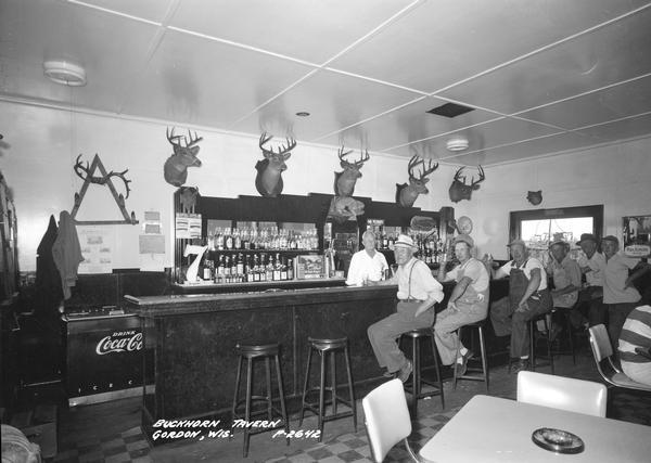 Customers sitting at the bar in the Buckhorn Tavern. There are five mounted deerheads above the bar. The bartender is standing behind the bar.