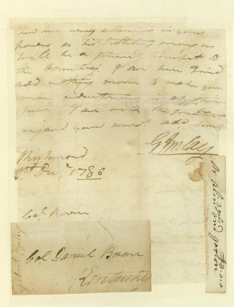 Letter written by Gilbert Imlay to Daniel Boone.