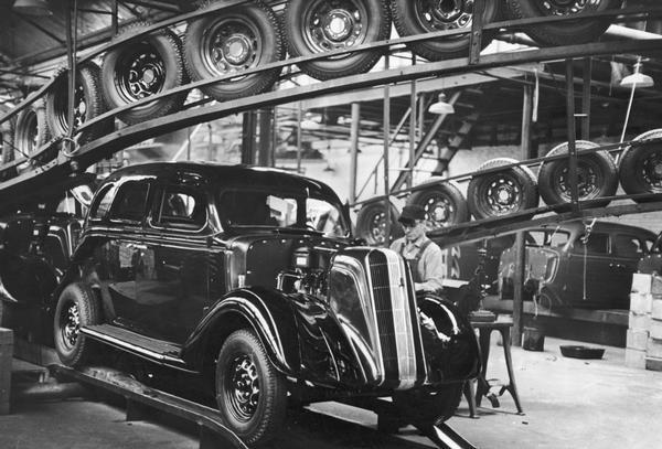 A nearly-completed automobile on the assembly line at Nash Motors in Kenosha.