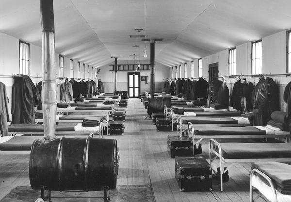 Interior of the bunk house at Long Lake C.C.C. Camp F.