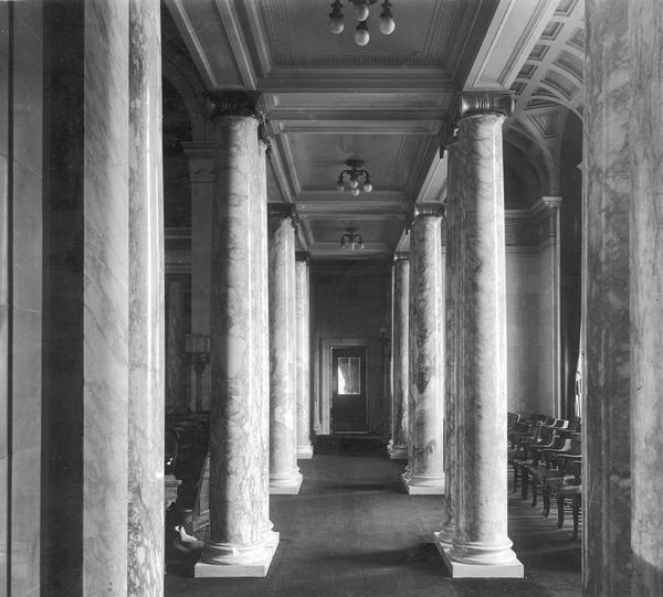 A view down the corridor of the fourth Wisconsin State Capitol.