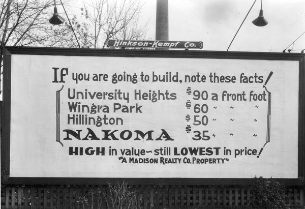 "A sign in Nakoma detailing real estate values, which reads ""If you are going to build, note these facts..."""