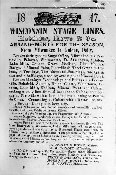 "Poster for ""Wisconsin Stage Lines Hutchins, Howe & Co. Arrangements for the Season, From Milwaukee to Galena Daily"""