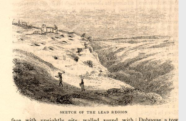 Engraved view of miners and hillside mines in the Lead Region.