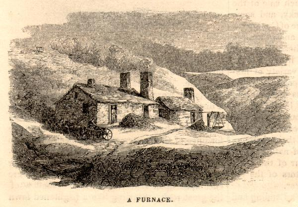 Engraved exterior view of a lead mining furnace. A man sits in a horse-drawn wagon at the left of the building.