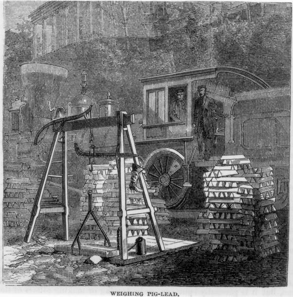 Engraved view of two men in a train locomotive observing the weighing of pig lead. Several bars of lead are stacked near the scale.