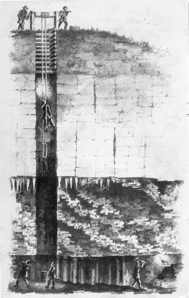 Cross section drawing of a Wisconsin lead mine.