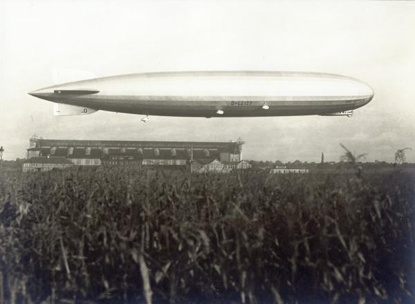 The Graf Zeppelin airship, 776 feet long, could travel at a speed of up to 80 miles per hour, powered by five 550 horse-power Maybach engines.  Hydrogen gas used to achieve lift.  The lighter-than-air craft made a pleasure voyage around the globe with a full passenger load in just over 12 days, at that time the fastest aerial circumnavigation.