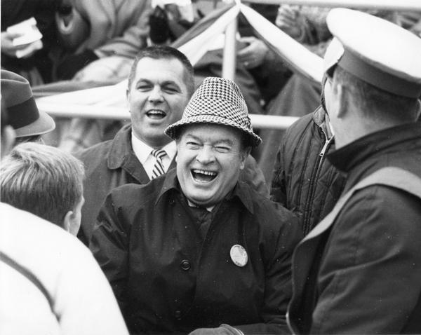 Bob Hope at University of Wisconsin-Madison Homecoming football game against his alma mater Ohio State.