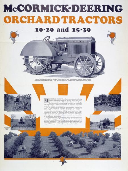 Advertising poster for McCormick-Deering 10-20 and 15-30 orchard tractors.