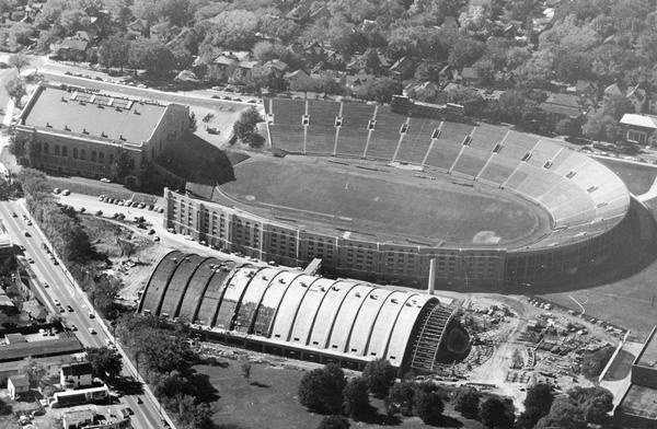 Aerial view of Camp Randall Stadium and Field House on the University of Wisconsin-Madison campus.