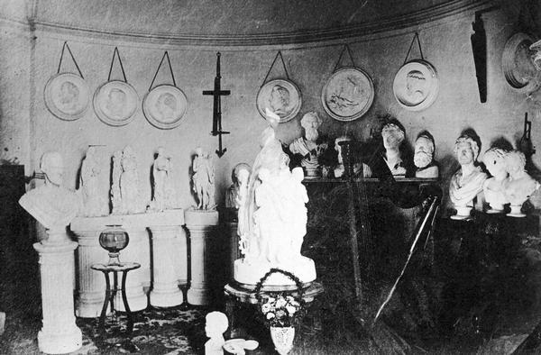 A view of Vinnie Ream Hoxie studio in the U.S. Capitol showing busts, figures and medallions of her creation.