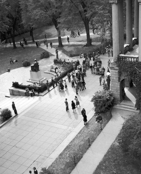 Elevated view of Bascom Hall terrace at the University of Wisconsin-Madison. The Lincoln Monument is near the front entrance.