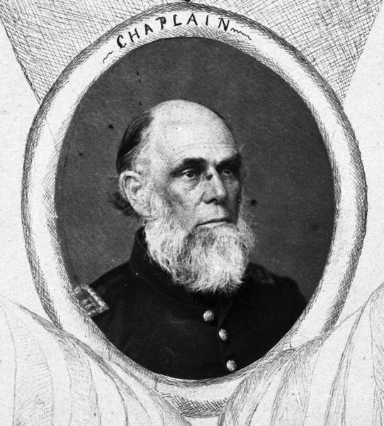William H. Brisbane, Chaplain of the 2nd Wisconsin Cavalry. Inset photograph taken from a large Civil War commemorative roster.