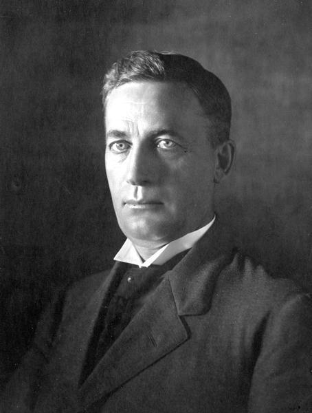 Studio portrait of Magnus Swenson. He was a Norwegian immigrant who made his name in business and as an inventor. He served on the Wisconsin Capitol Building Commission and as a University of Wisconsin Regent, as well as the head of Food Administration for Northern Europe for Herbert Hoover after World War I.
