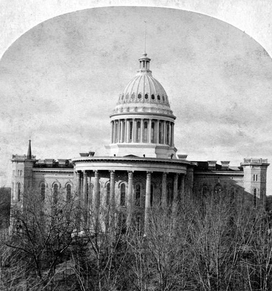 The third (second in Madison), Wisconsin State Capitol that stood from 1857-1913, from a stereograph original.