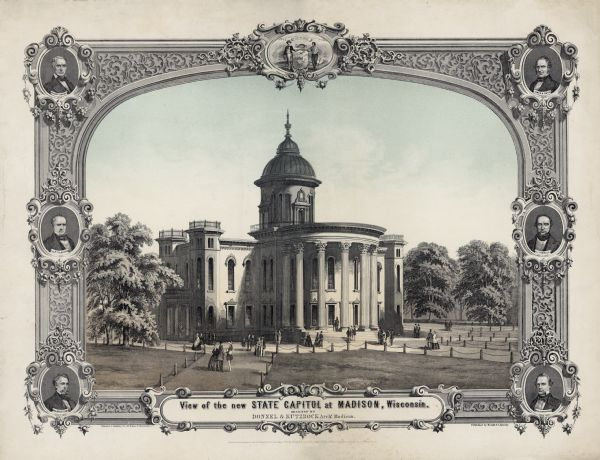 Lithograph of the Wisconsin State Capitol, surrounded by portraits of Wisconsin Statesmen. Governor Bashford hired the Madison architectural firm Kutzbock and Donnel to design an addition to the capitol, which would be the first phase of the construction of an entirely new building. Kutzbock and Donnel's proposed a modest structure with two large porticoed wings to house legislative chambers, octagonal towers at the corners, and a small, cupola-like dome.