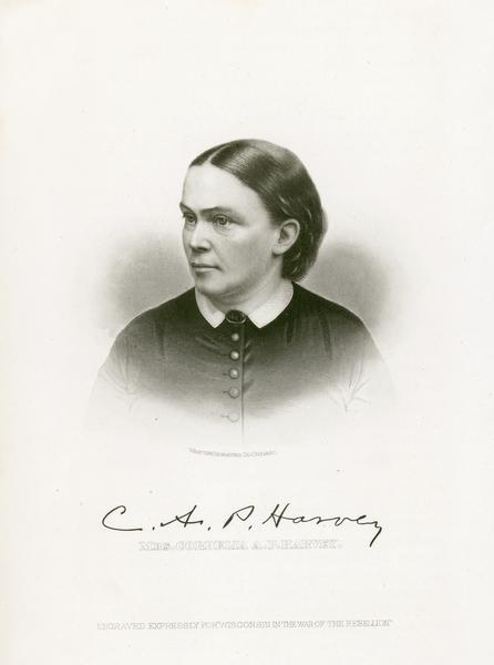 Head and shoulders engraving of Cordelia Harvey.