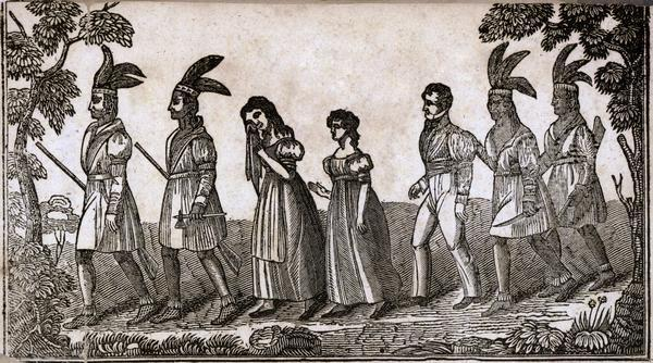 Shows how the Hall sisters were taken captive by Potawatomie tribe.