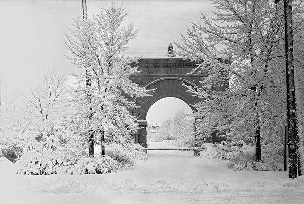 Winter scene featuring the Camp Randall Memorial Arch on the University of Wisconsin-Madison campus.