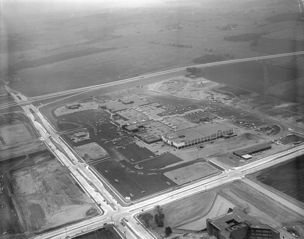 An aerial view of West Towne Shopping Center (now West Towne Mall) at Mineral Point and Gammon Roads.