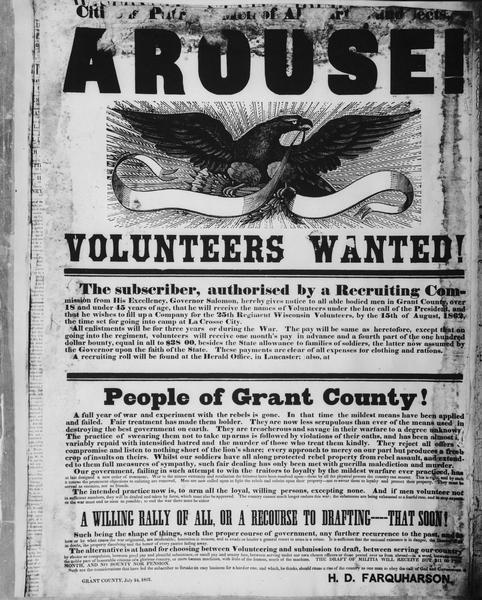 Poster calling for the recruitment of volunteers from Grant County for the Union Army during the Civil War.