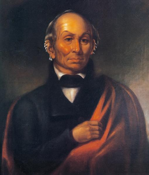 Painting of Black Hawk by Robert M. Sully. Black Hawk, a Native American Sauk warrior and leader, sought to attack and drive out the settlers in the Blue Mounds of Wisconsin in 1832. After his capture and release, he became a symbol of a diminishing and no longer threatening culture.