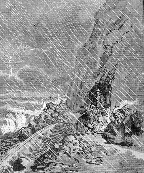 An illustration of a storm encountered by a delegation of Indians on their way to Washington, D.C.
